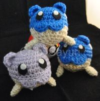 Spheal Pokemon Inspired Amigurumi 2 by ChibiSayuriEtsy  Handmade and designed by me, free for inspiration but don't steal the design, that's super rude! Pattern not for distribution, strictly fanart. My art dolls have no affiliation with Nintendo, the Pokemon Company, or any of their companies. #pokemon #pokedoll #pokemonplush #crochet #handmade #amigurumi #art #doll #plush