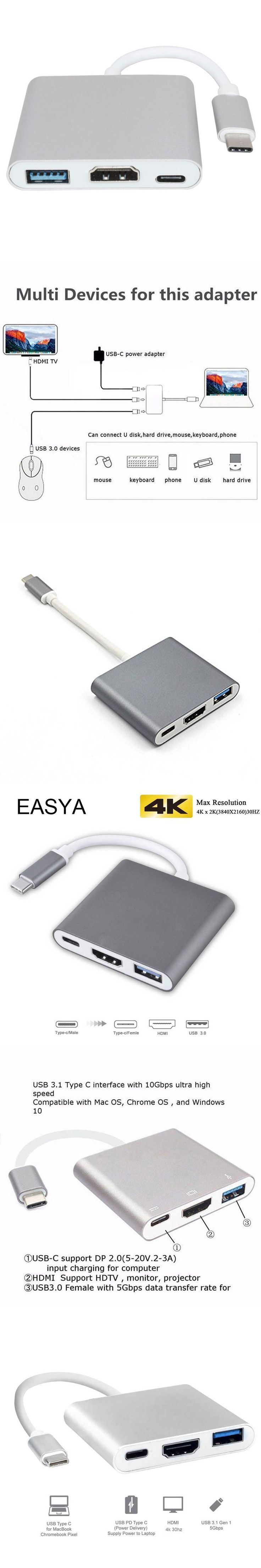 EASYA 3-in-1 USB-C Hub To HDMI Adapter 4K HD Aluminum Dock USB C Hub 3.0 Power Delivery For MacBook Pro Type-C HUB