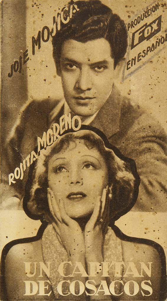 """Programa de mano de cine de la película """"Un capitán de cosacos"""", estrenada en España en el año 1934"""