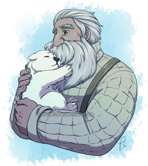 """Finally caught up with some episodes of """"We Bare Bears"""", baby Ice bear's episode wrecked me so here's some good feels of little Ice Bear and Yuri.  Please reblog don't repost!  We Bare Bears © Daniel Chong  deviantART"""