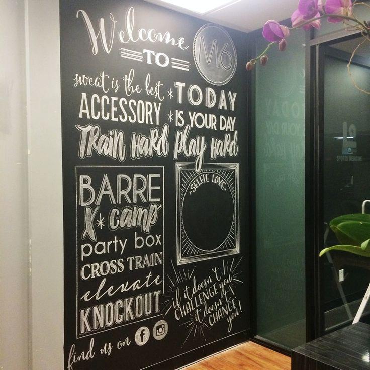 M fitness gym chalkboard mural laura stewart design