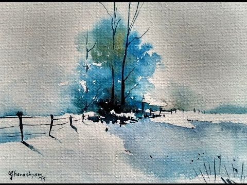 Snowy Winter Landscape with watercolor | Paint wit…