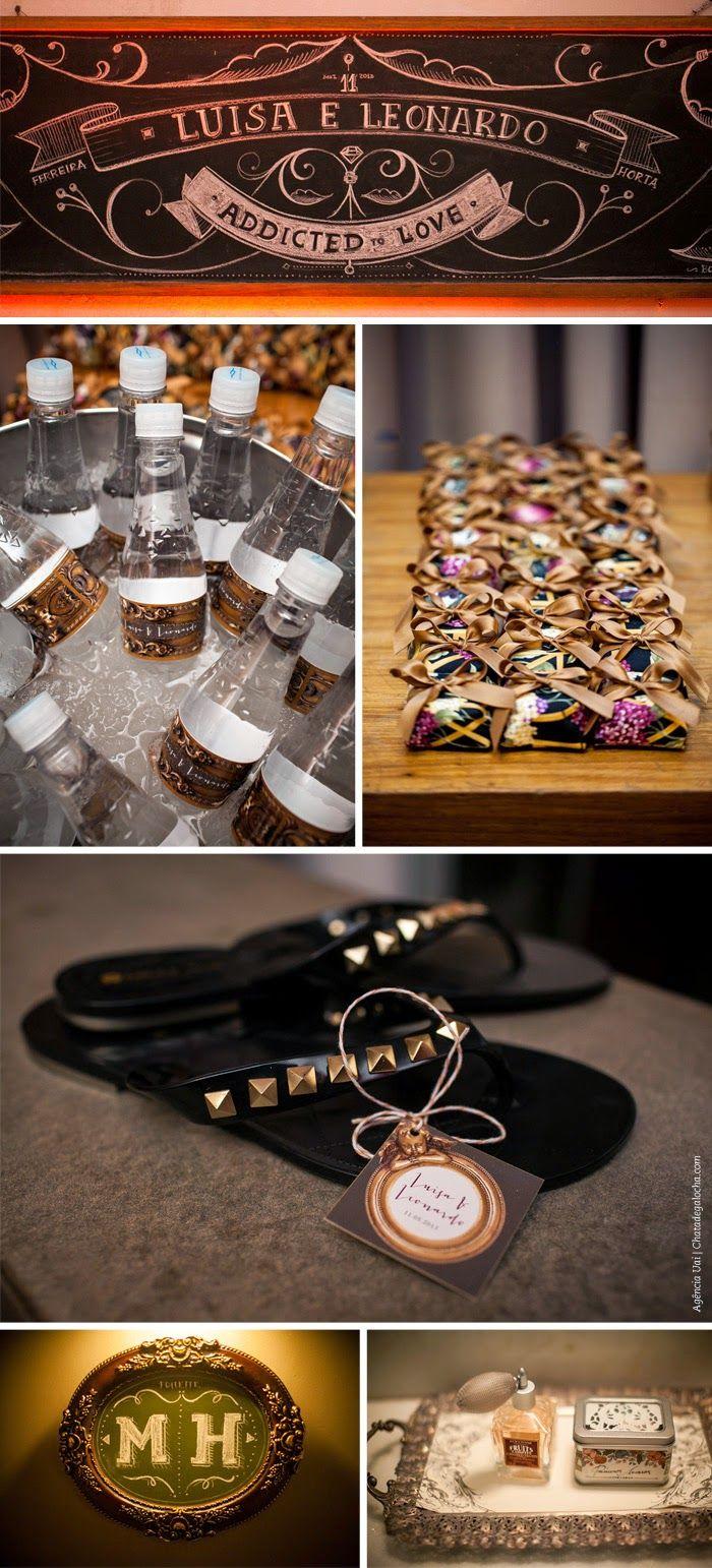 Os bem casados, sandálias de lembranças e detalhes do casamento da Lu Ferreira, blogger do Chata de Galocha.