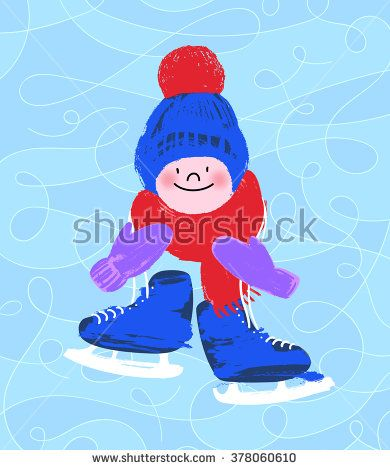 Boy in a cap with skates on ice background. Vector illustration