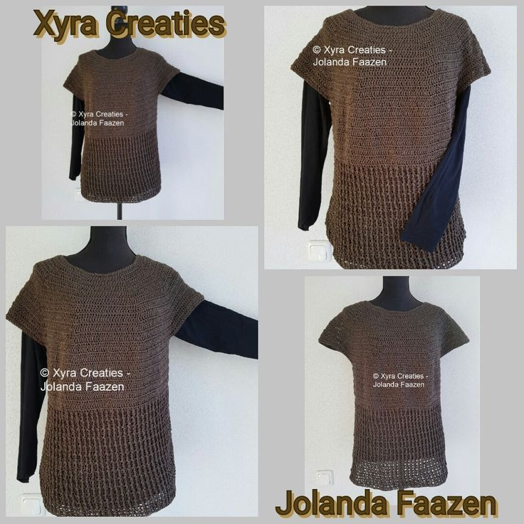 #PATR1098 #haakpatroon #patroon #haken #gehaakt #shirt #top #trui #sweater #tuniek #crochet #pattern #tunic  #DIY Patroon (NL) is beschikbaar via: Pattern (English-US) is available at: www.xyracreaties.nl www.ravelry.com/stores/xyra-creaties www.etsy.com/shop/XyraCreaties