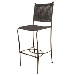 Laeticia Bar Stool Material:	Polycane / Steel Size:	W: 440 D: 500 H: 1190 This item is hand woven with a Synthetic cane fiber (Polyethylene based) which is tear proof, colorfast, resistant to UV light and 100 % recyclable. The frame is made of Steel and is powder coated. The combination of both materials makes each piece totally weatherproof. The furniture can be rinsed with a hose pipe.