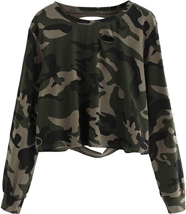5e2126da229fd Amazon.com: SweatyRocks Women's Tshirt Camo Print Distressed Crop T ...