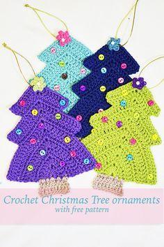 Crochet Christmas Tree Ornaments By Cynthia Banessa - Free Crochet Pattern - (cynthiabanessa)