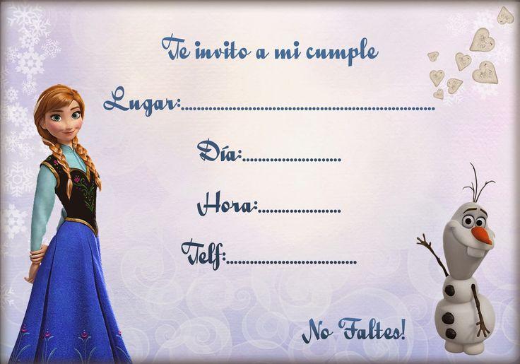 Original invitación para una celebración de cumpleaños inspirada en la película de Disney Frozen