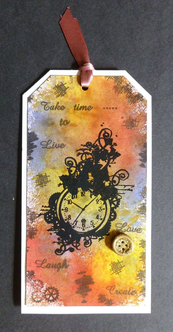 'Take time to.....' Tag. - Imagination Craft's - Take time to Art stamp set.  Black embossing powder.  Black ink pad.   Mixed Media Spray Inks - Red, Light purple & Sunshine.   April 2017.   Designed by Jennifer Johnston.