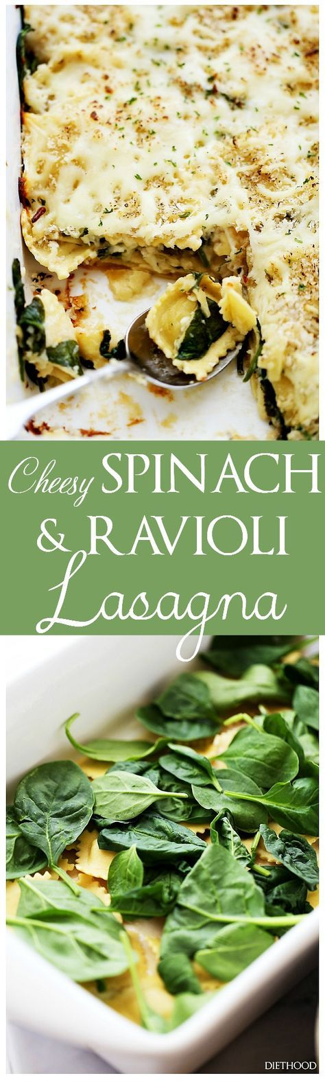 Spinach and Four Cheese Ravioli Lasagna | www.diethood.com | Layers of cheese-filled ravioli and fresh baby spinach covered in homemade alfredo sauce and topped with a crispy panko crumb-topping. | #lasagna #ravioli