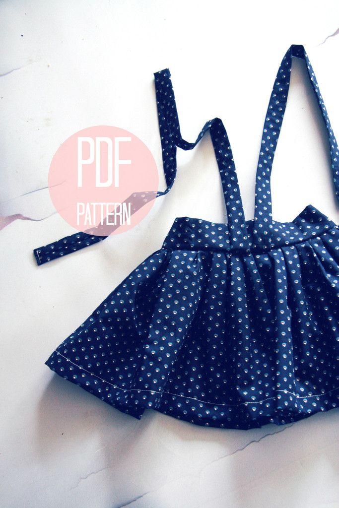 Girls Skirt Pattern   The High Waist Suspender Skirt   Downloadable Sewing Pattern PDF from Fleur + Dot Vintage inspired Girls apparel fleuranddot.com
