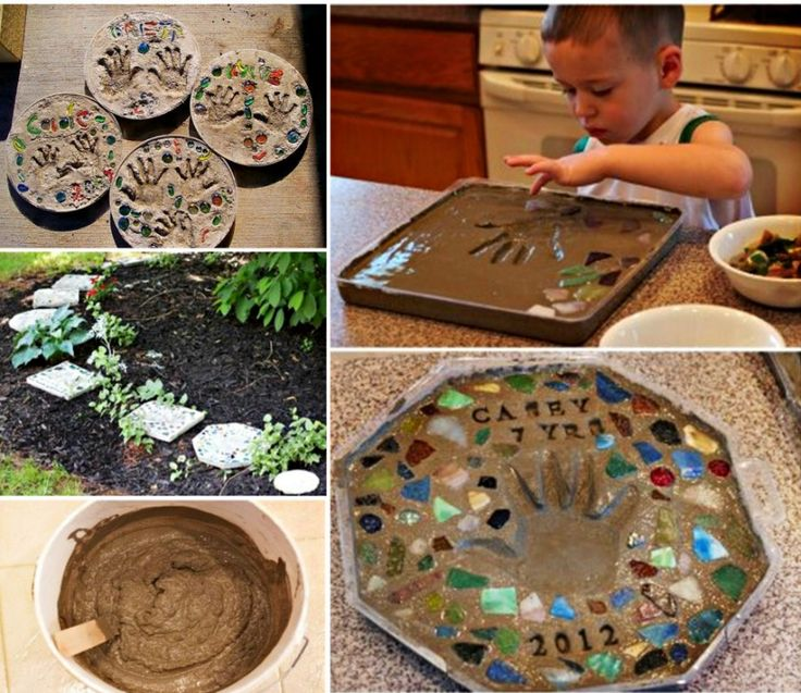 Make these fabulous stepping stones using the kids hand prints, they'll look gorgeous in your garden.