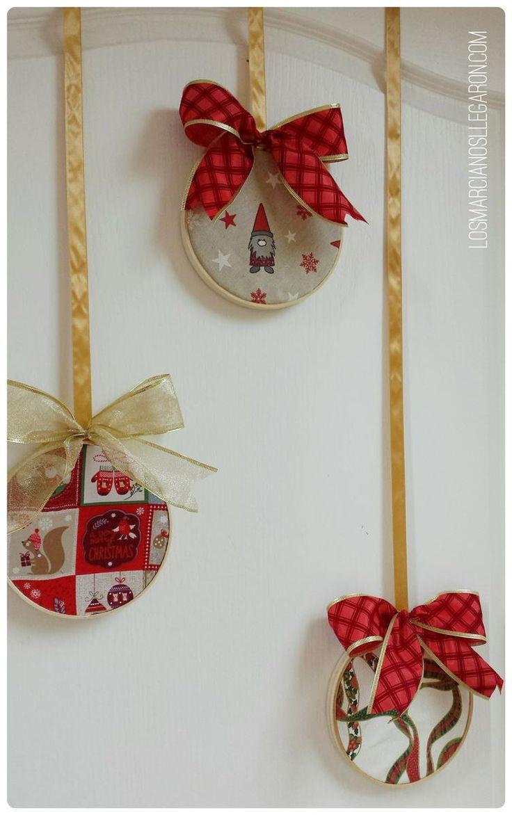 Decoración de Navidad con aros de bordar muy fácil