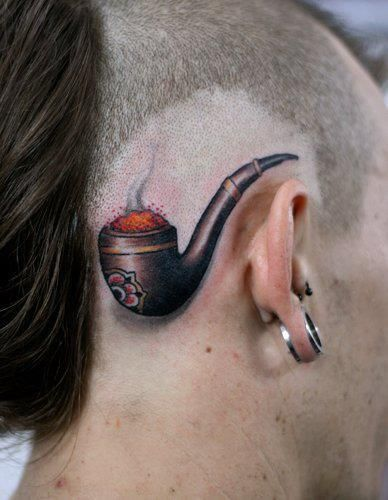 See more 3D pipe with smoke tattoos on head
