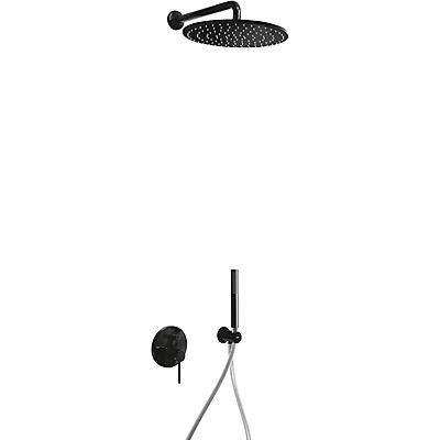 • baterią podtynkowa w zestawie z elementem podtynkowym• Deszczownica mosiężna śr. 300 mm. z kolankiem• Uchwyt do słuchawki• Słuchawka anticalc• Wąż satin kolorze czarnym