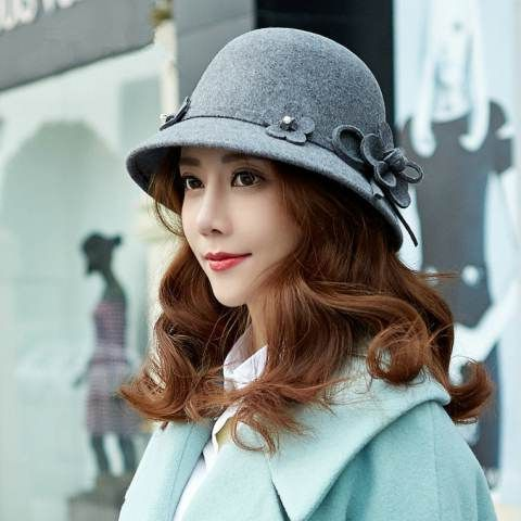 84607d896eb Flower trilby bowler hat vintage style womens hat for winter   HatsForWomenBowler  BeachHatsForWomen