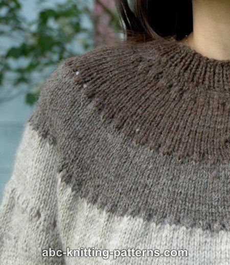 ABC Knitting Patterns - Seamless Round Yoke Fisherman's Cardigan