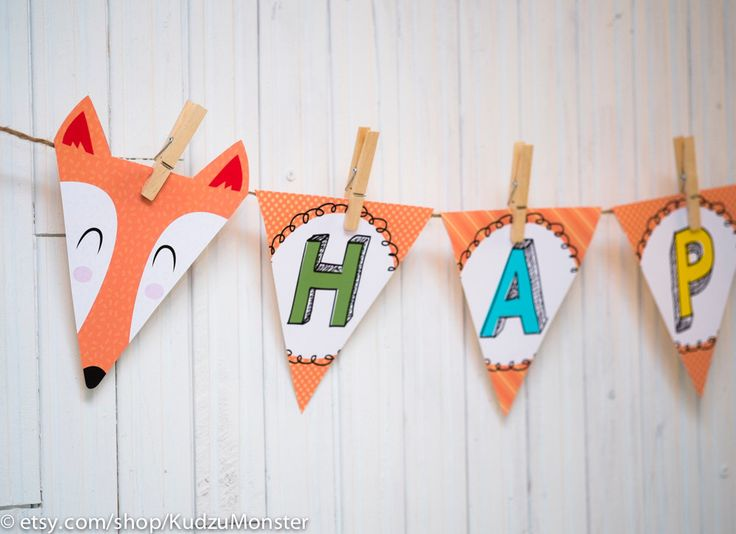Fox woodland Party printable banner custom words A-Z baby shower banner birthday bunting flag banner party decoration by KudzuMonster on Etsy https://www.etsy.com/listing/223072874/fox-woodland-party-printable-banner