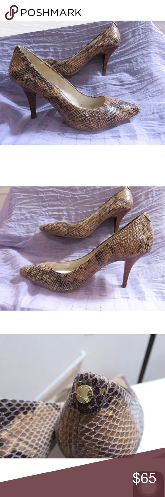 Michael Kors 8.5 Flex Heels Brown Python Snake Great condition with minimal signs of wear. Heels are a bit sticky inside because I removed the pad for heel grip KORS Michael Kors Shoes Heels
