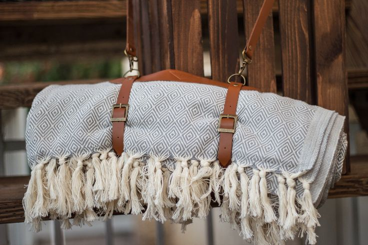 Handmade Cotton Blanket | Leather Carrier | Beach Blanket | Leather Carrier | Yoga Leather Strap |Turkish Throw by HandloomStore on Etsy https://www.etsy.com/listing/197718995/handmade-cotton-blanket-leather-carrier
