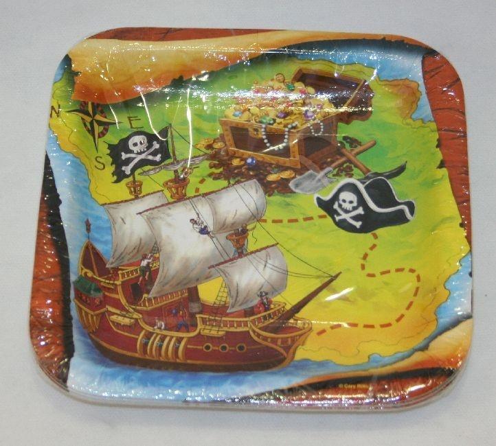 Piatttini Pirati quadrati 18x18 cm 8 pz, in cartoncino quadrato per Festa a Tema Pirata, Carnevale, Party e Feste di Compleanno. Disponibili da C&C Creations Store