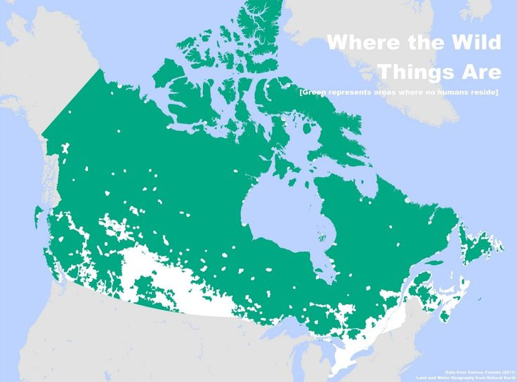 "A #map of ""Where people don't live in Canada."" 2011 #Canadian #Census. (Check out the link for other cool maps.) From buzzbuzzhome.com"