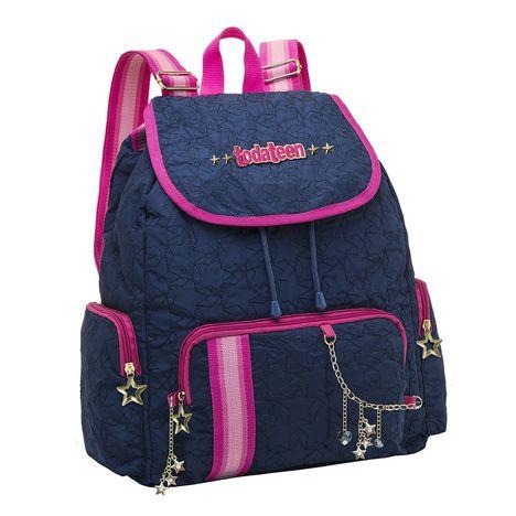 Mochila Escolar Pacific Toda Teen Beauty 7680305 Azul e Rosa - Imagem 1 de 1