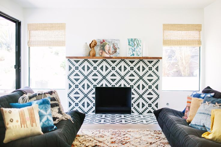 Veneer Designs - fireplace surround with cement tiles, graphic black and white, Tulum, modern boho, bohemian, togo sofa, beni ourain rug