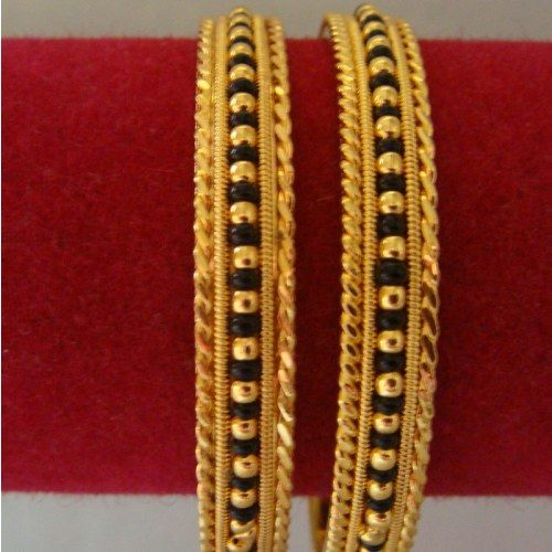 Black bead bangles - 2