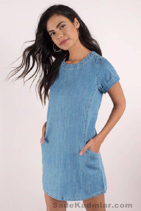 Günlük Elbise 2018 Şık ve Rahat Yazlık Elbiseler mavi kot cepli