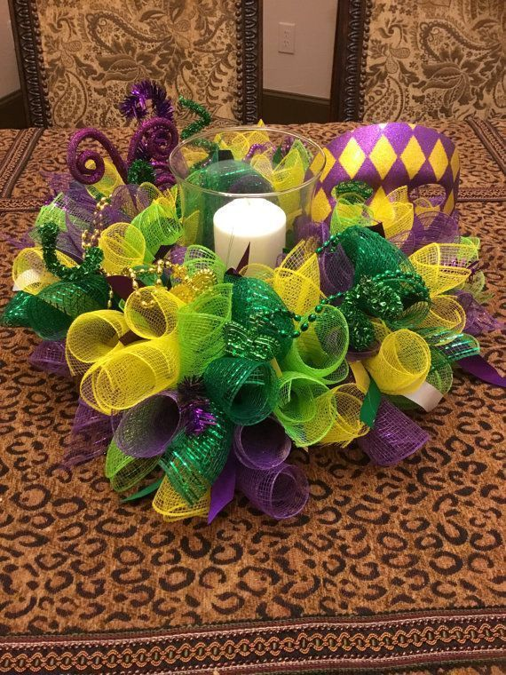 17″ Spring/Easter Colorful Deco Mesh Flower Centerpiece/Candle Holder – Multicolor Pastels