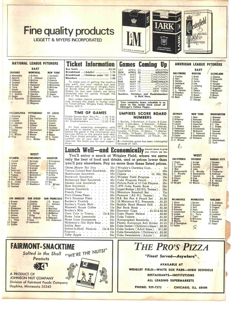 1970 Cubs Score card on the inside right page. These were the Pitchers from both leagues which were numbered so that you could track the pitchers on the Wrigley Field Scoreboard. Also note the prices and Cigarette ads.