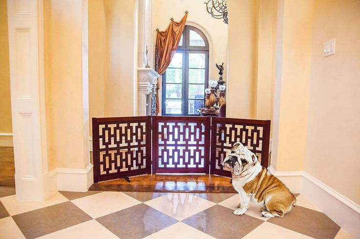 "CONTEMPORARY DESIGNER DOG GATE 27"" – Free shipping and tax included on all designer dog gates. Add style to your home with our luxury pet gates.  Perfect for puppies too! Our indoor and outdoor dog gates will be a great addition to your home.  #dog #doggate #talldoggate #petgate #puppygate #designerpetfurniture"
