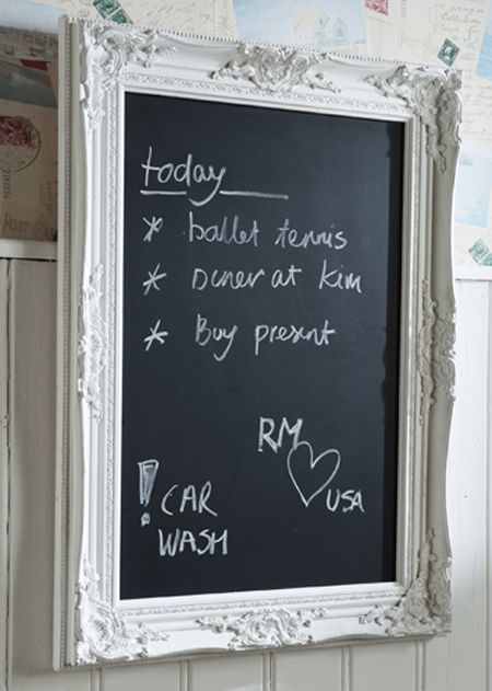Made one by myself, easy to do.   French Blackboard M white #living #interior #rivieramaison