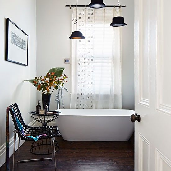 White bathroom with dark wood floor | Bathroom decorating | Livingetc | Housetohome.co.uk