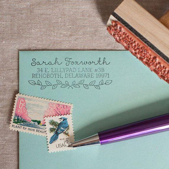 Custom return address stamp LEAF & LAUREL with wood by chattypress
