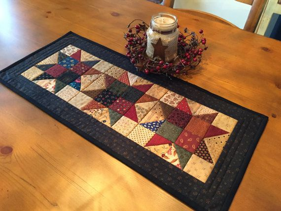 Quilted Table Runner / Primitive / Country Stars / by QuiltedByVal