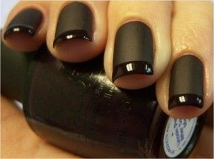 Black matte with black glossy tips.: Matte Nails, Nails Art, Nail Polish, French Manicures, Matte Black Nails, Beautiful, French Tips, Nails Polish, Matteblack