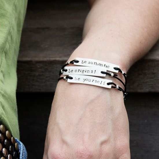 Be authentic, be original, be yourself. This DIY metal stamped bracelet reminds you what is important. What are your 3 words to live by?