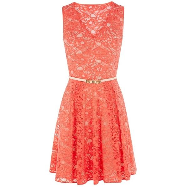 Oasis Isabell Lace Skater Dress, Coral ($99) ❤ liked on Polyvore