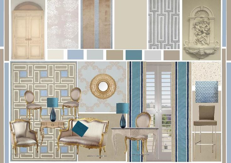 Tints And Tones Of Blue Used With Toned Tinted Taupe Contemporary Twist On Classic InteriorsLiving Room ColorsConcept BoardColor