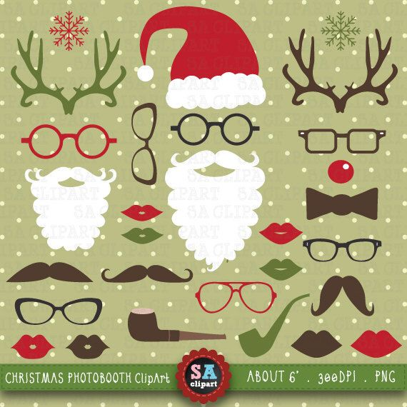 "Christmas Clipart ""CHRISTMAS PHOTO BOOTH""pack, Spectacles,Rudolph Antlers,Santa Hat,Lips,Beard,Mustache,invitations,scrapbooking Crs003 by SAClipArt on Etsy https://www.etsy.com/uk/listing/198940712/christmas-clipart-christmas-photo"