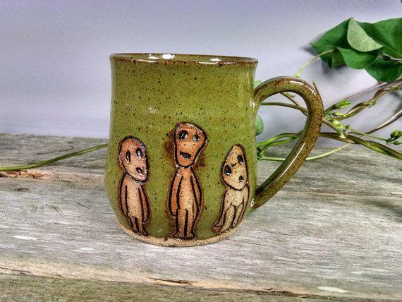 16 oz Bright Green Kodoma Mug - Wheel Thrown Hand Carved Studio Ghibli Coffee Cup