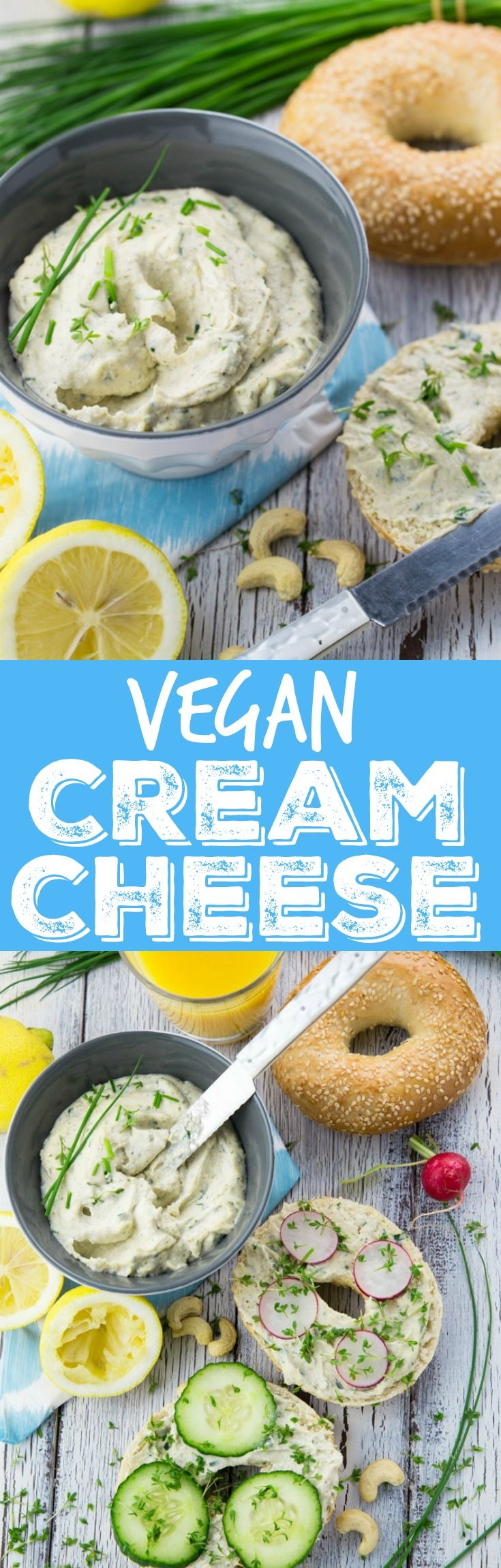 Kiss your dairy products goodbye and say hello to this delicious vegan cream cheese with garlic and fresh herbs. It's incredibly creamy and easy to make! My all-time favorite cashew cream cheese!