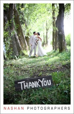 This would be cute to get as part of your wedding photo shots - make it easy to do thank you cards!