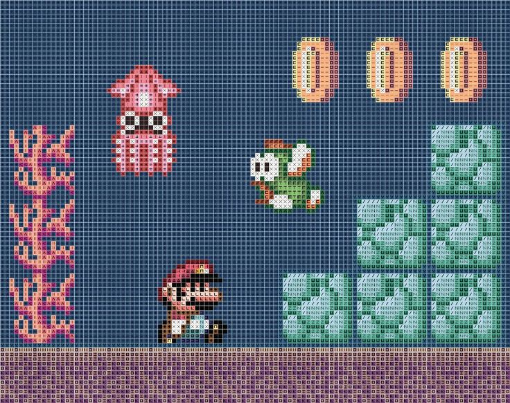 I've been looking around and there aren't a whole lot of Mario patterns involving underwater levels, so I made this one! Hope you enjoy it! I would recommend using a navy or blue fabric…