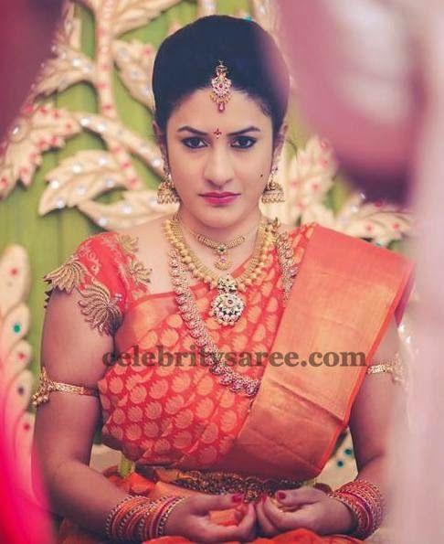 Bride in Lotus Zardosi Blouse | Saree Blouse Patterns
