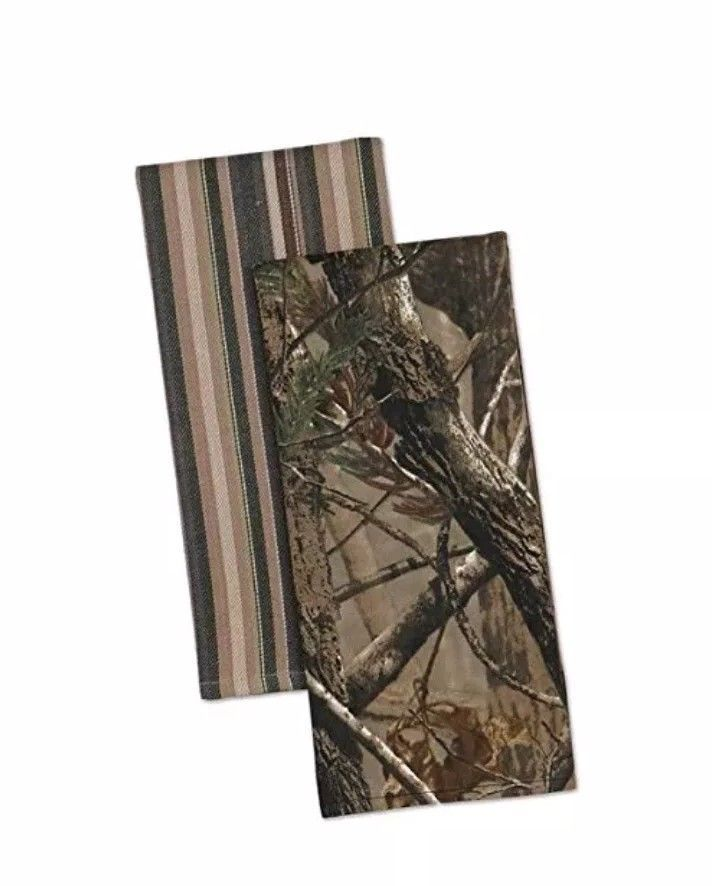 Kitchen Towel Set Camouflage And Striped Realtree Country