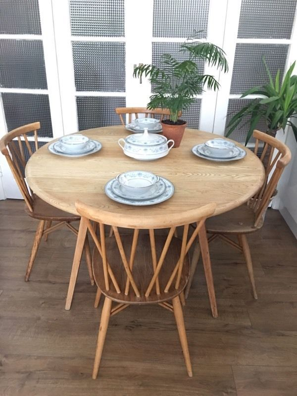 ERCOL VINTAGE TABLE AND CHAIRS FREE DELIVERY LONDON CANDLESTICK